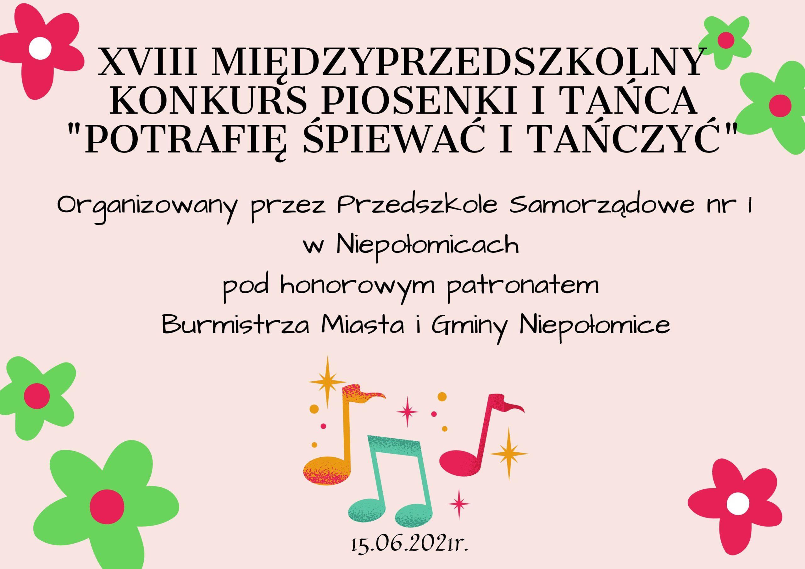 """XVIII Międzyprzedszkolny Konkurs Piosenki i Tańca """"Potrafię Śpiewać i Tańczyć"""" post thumbnail"""